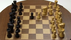 Stop Motion Chess Game On Old Magnetic Board Stock Footage