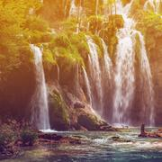 Autumnal view of beautiful waterfalls in Plitvice Lakes National Park - stock photo