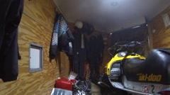 Snowmobile winter transport inside trailer driving HD Stock Footage
