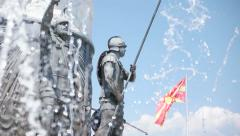 Water show under Alexander the Great Monument in Skopje - Macedonia Stock Footage
