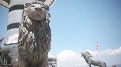 Lion statues under Alexander the Great Monument in Skopje - Macedonia Stock Footage