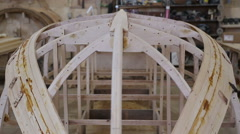 Construction of a boat at the shipyard Stock Footage