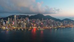 Day to night 4K timelapse of Hong Kong island harbour and city skyline Stock Footage