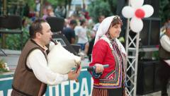 KARDZHALI - BULGARIA, JULY 2015: Music and dance groups at Balkan Festiva - stock footage