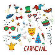 Hand drawn party, carnival set - stock illustration