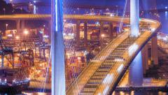 Blurred car lights moving at night on modern Stonecutters bridge in Hong Kong Stock Footage