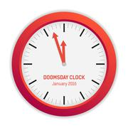 Isolated illustration of Doomsday clock (3 minutes to midnight) - stock illustration