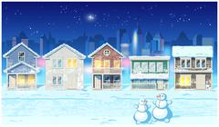 Winter suburb at night - stock illustration