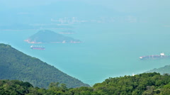 Cargo Ship Sailing in the Sea. Hong Kong Arkistovideo