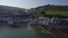 Cawsand Kingsand Cornwall Cornish Fishing Village Aerial Stock Footage