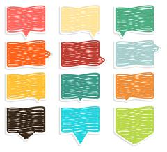 Collection of extraordinary colorful crosshadged speech bubbles Stock Illustration
