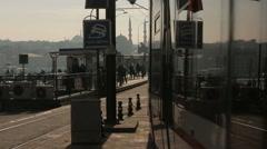 Traffic on Karakoy square and Galata Bridge, Istanbul Stock Footage