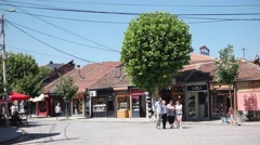 View at the Prizren city square. Prizren is a historic city located in Kosovo Stock Footage