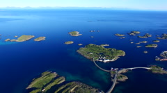 Scenic road on Lofoten islands, Henningsvaer, from air Stock Footage