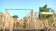 Construction Workers Working On New Home Construction - stock footage