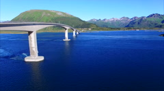Bridge on Lofoten islands in Norway - stock footage