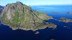 Islands around Henningsvaer on Lofoten islands, Norway Stock Footage