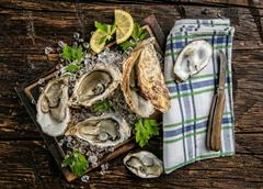Oysters served on wooden board with ice drift Stock Photos