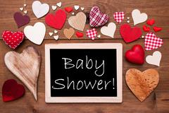 One Chalkbord, Many Red Hearts, Baby Shower - stock photo