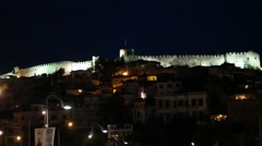 Kavala Castle at night, Greece Stock Footage