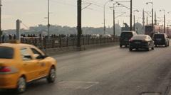 Traffic on Karakoy square and Galata Bridge, Istanbul - stock footage