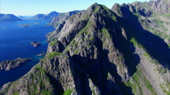 Peaks on Lofoten, Norway, aerial view Stock Footage