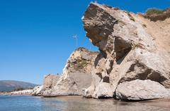 Rock landslide on the Kalamaki beach - stock photo