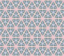 retro hexagonal green pink flowered pattern - stock illustration