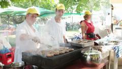 KIRCAALI- BULGARIA, JULY 2015: Barbecue grilling shish kebab Stock Footage