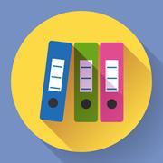 Row of binders flat icon Stock Illustration