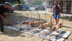 KARDZHALI - BULGARIA JULY 2015: Traditional Bulgarian roasting lamb barbecue Stock Footage