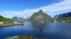 Reine on Lofoten islands, Norway Stock Footage