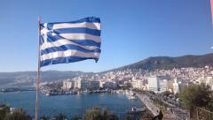 Greek Flag waving at Kavala, Greece Stock Footage