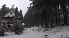 4k Apres-Ski location Rodelhaus gastronomy Wurmberg Harz Stock Footage