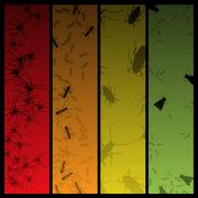 insect banners - stock illustration