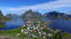 Stock Video Footage of Norwegian town Reine on Lofoten islands, aerial footage