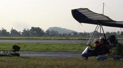 The trike goes on the runway Stock Footage