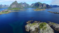 Flyover near Reine on Lofoten islands, Norway - stock footage
