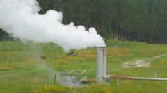 CLOSE UP: Smoke and steam coming out of heating plant pipeline chimney Stock Footage