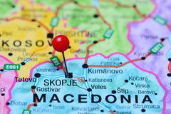 Skopje pinned on a map of Macedonia Stock Photos