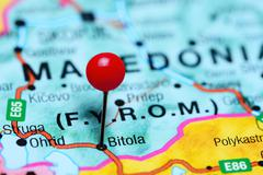 Bitola pinned on a map of Macedonia - stock photo