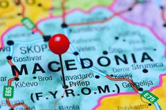 Prilep pinned on a map of Macedonia Stock Photos