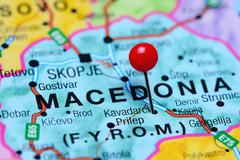 Kavadarci pinned on a map of Macedonia Stock Photos