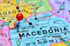 Stock Photo of Gostivar pinned on a map of Macedonia