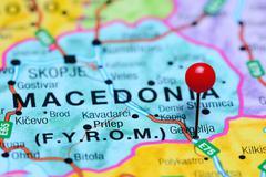 Gevgelija pinned on a map of Macedonia - stock photo