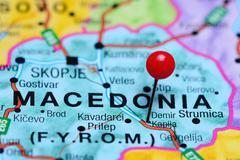 Demir Kapija pinned on a map of Macedonia - stock photo