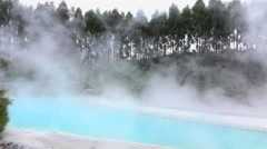 Hot geothermal spa pool steaming outdoors Stock Footage