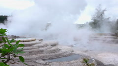 Hot water in beautiful geothermal terraces steaming Stock Footage