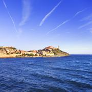 Elba island, Portoferraio village and lighthouse. Tuscany, Italy. - stock photo