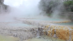 CLOSE UP: Beautiful mineral hot water spring terraces steaming Stock Footage